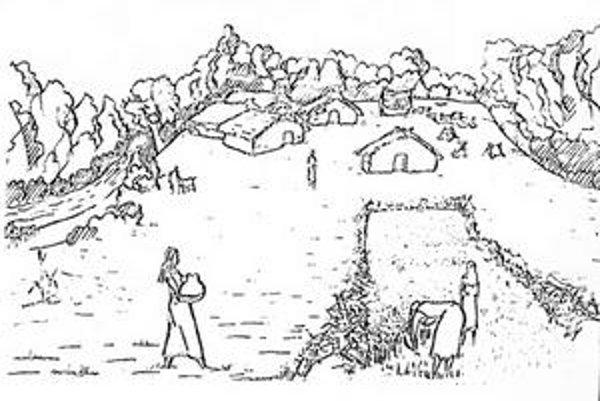 Praveká výstavba. Podľa odborníkov asi takto vyzerala v praveku dedinka v Šarišských Michaľanoch.