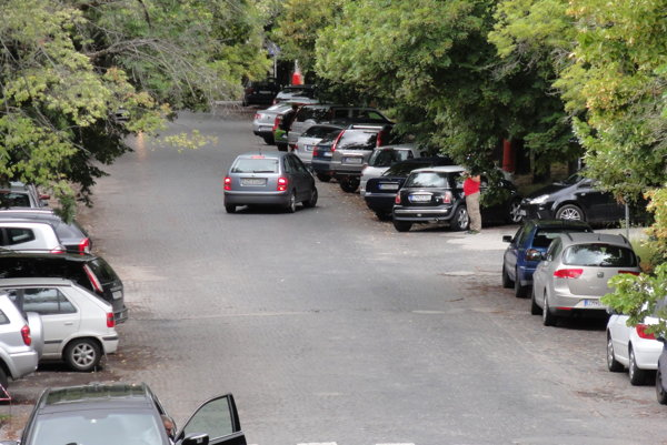 Šoféri pred nemocnicou parkujú svoje autá v rozpore so značkou a tak, ako boli roky zvyknutí. Samospráva tvrdí, že za to ešte nikto pokutu nedostal.