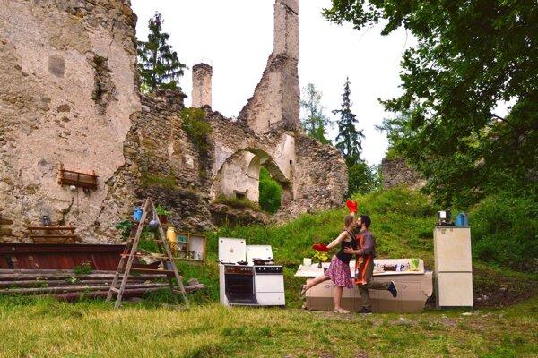 Tradičná slovenská kuchyňa na Sklabinskom hrade.