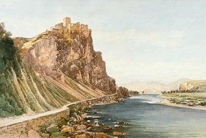 Zrúcanina Strečnianskeho hradu na akvarele od Thomasa Endera zo začiatku devätnásteho storočia.