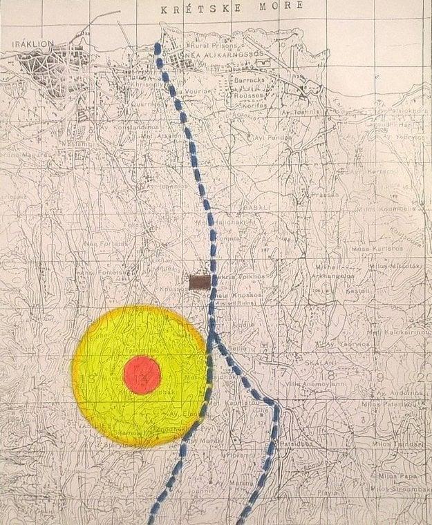 Mapa, kde sa nachádza palác Knóssos.