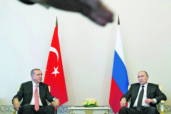 Prijatie Recepa Tayyipa Erdogana v Moskve Vladimírom Putinom.