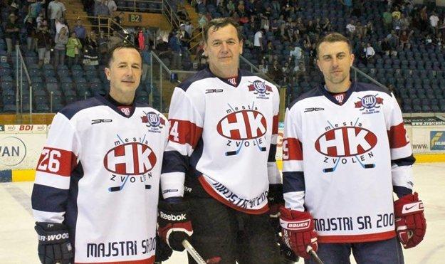 Legendárna formácia HKM z majstrovskej sezóny 2000/2001. Zľava Jaroslav Török, Richard Šechný a Andrej Rajčák