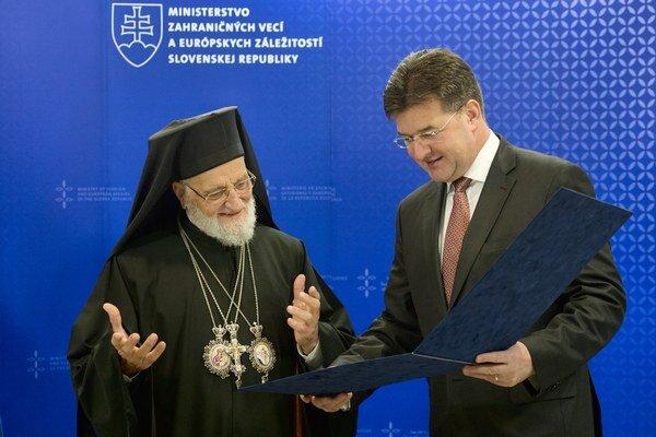 Podpredseda vlády a minister zahraničných vecí a európskych záležitostí SR Miroslav Lajčák a patriarcha melchitskej gréckokatolíckej cirkvi so sídlom v Damasku Gregor III.