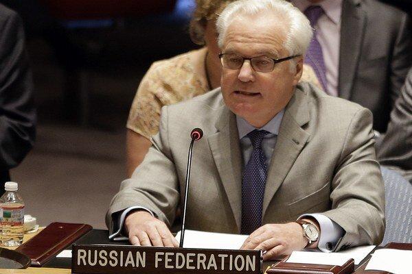 Ruský veľvyslanec pri OSN Vitalij Čurkin počas mimoriadneho zasadnutia Bezpečnostnej rady OSN o humanitárnej situácii na Ukrajine.