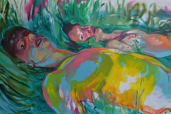 K. Bukovčáková: Tragédia (2015), akryl asprej na plátne.