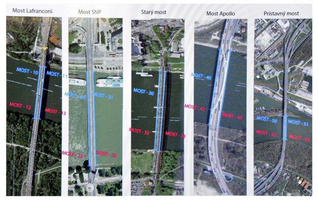 Plán rozmiestnenia policajných hliadok a uzávierok na bratislavských mostoch.