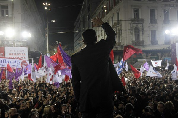 Míting strany Syriza v Aténach.