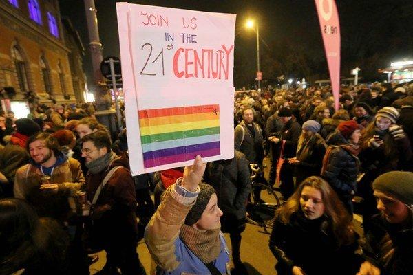 Protest vo Viedni.