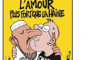 """""""Láska je silnejšia ako nenávisť,"""" odkazuje magazín Charlie Hebdo moslimom."""