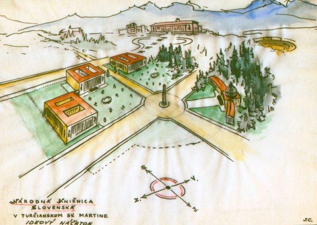Areál Slovenskej národnej knižnice ako ho videl J. Cincík.