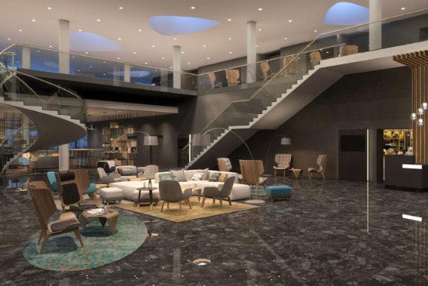 Lobby nového hotela v Brne.