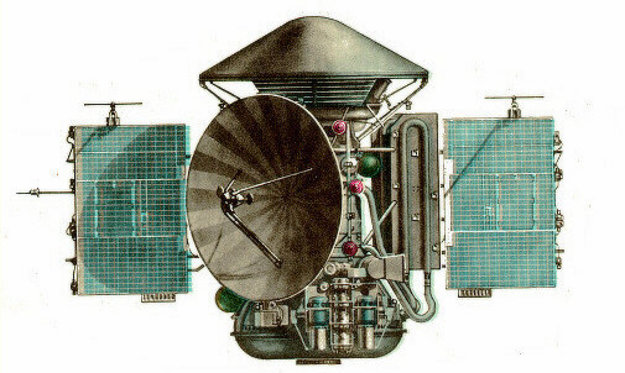 Orbiter Mars 3 s landerom na vrchu.