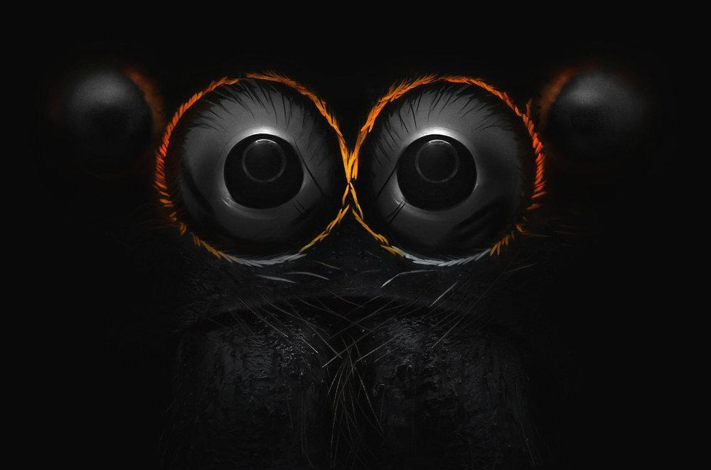 Zväčené oči pavúka (9-krát).