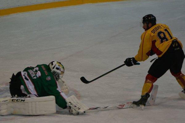 Vedúci gól Topoľčian strelil v úvodnej tretine Ľuboš Dobrý.
