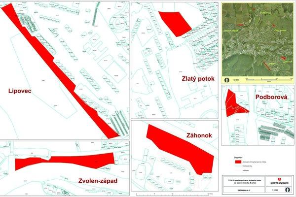 Červenou farbou sú vyznačené miesta určené pre voľný pohyb psa bez vôdzky.