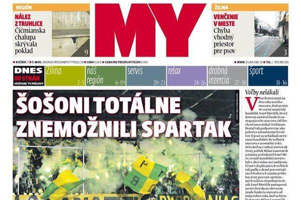 Titulka aktuálneho čísla MY Žilinských novín.
