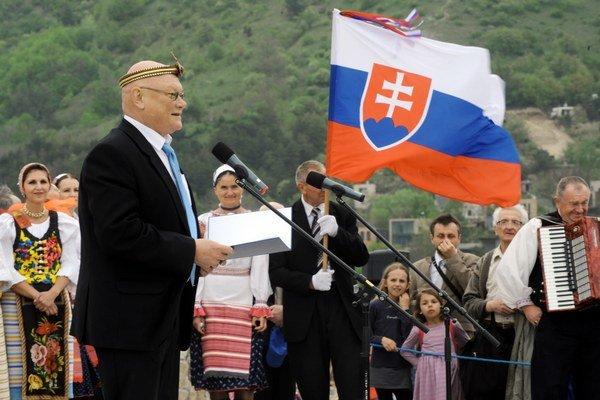 Marián Tkáč počas osláv na Devíne.