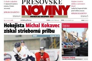 Titulka Prešovských novín č. 45/2016