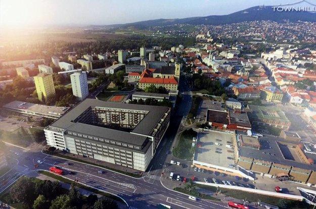 Vizualizácia, ktorú zverejnila skupina Poslanci pre Nitru - Nitra pre občanov. Vpravo je Tesco, vľavo dom služieb.