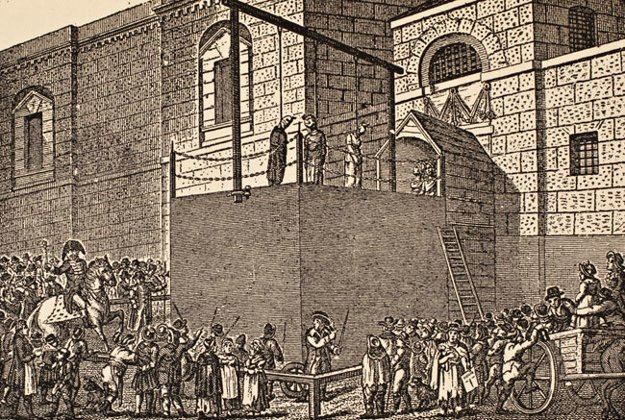 Poprava pred väzením Newgate v Londýne.