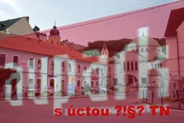 V Trenčíne sa nenašlo dosť hlasov proti výstavbe Auparku. Filter na fotografii ukazuje, ako by jeho budova zakryla výhľad na historické centrum.