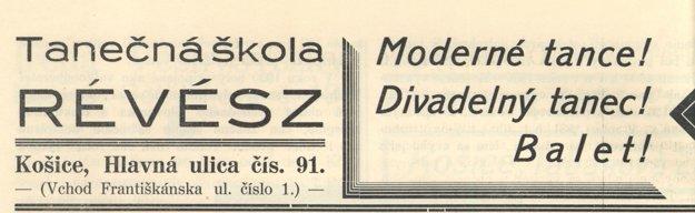 Reklama tanečnej školy Eugena Révésza z roku 1932.