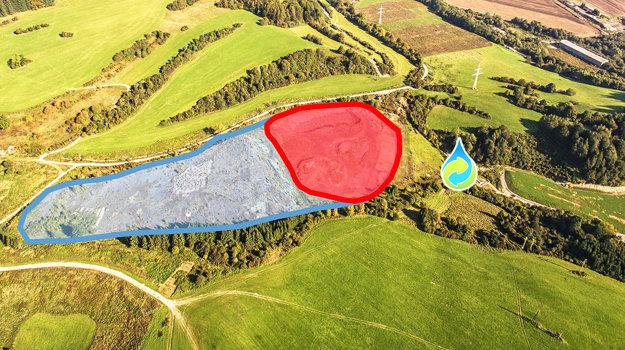 Tri skládky ačistiareň. Modrou farbou je vyznačená stará skládka sarzénom, červenou nová, kvapka znázorňuje čističku vody. Zelený pás vpravo od čističky je zrekultivovaná skládka komunálneho odpadu.
