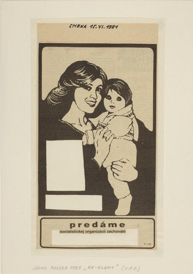 Július Koller, Re-Klamy (U.F.O.), 1981, dekoláž na papieri.