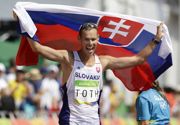 Radosť Mateja Tótha v cieli olympijskej päťdesiatky. Písal sa 18. august 2016.