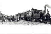 Vlak v železničnej stanici Bánovce nad Bebravou pri otvorení trate Topoľčany - Trenčín, dňa 17.8.1901