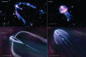 Röntgenové observatórium Chandra ukázalo dva blízke energetické pulzary letiace cez Mliečnu dráhu. Pulzary vytvárajú lúče, vďaka ktorým ich môžu astronómovia pozorovať. Prvýkrát ich objavili pred 50 rokmi.