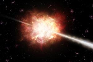 Umelecké zobrazenie záblesku gama žiarenia.