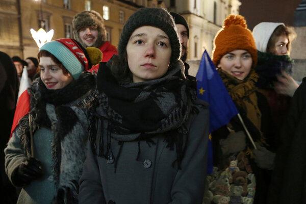Protestujúci poľskí študenti.