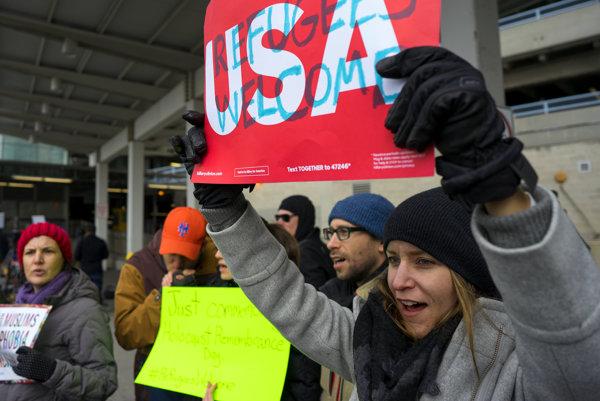 Protest na letisku John F. Kennedy International Airport v New Yorku.