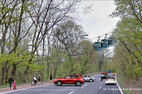 Lanovka má viesť nad Kláštorskou cestou, pri ktorej vzniknú parkovacie miesta.