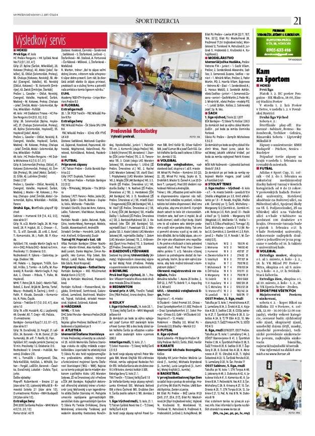Každý týždeň prináša týždenník MY Prešovské noviny podrobný športový servis, presvedčte sa sami.