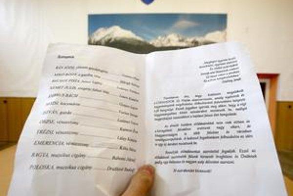 Dvojstránka o hre je takmer celá po maďarsky. Len na poslednej strane je aj slovenčina.