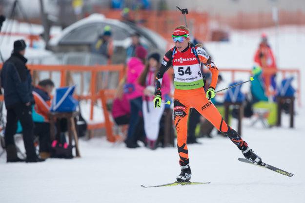 Na snímke slovenská biatlonista Terézia Poliaková v šprinte žien na 7,5 km v rámci 6. kola IBU Cup-u v biatlone v biatlonovom centre Osrblie.