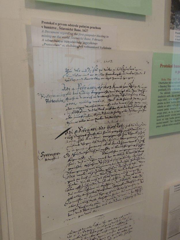 Na snímke je Protokol o prvom odstrele pušným prachom v baníctve v Slovenskom banskom múzeu v Banskej Štiavnici.