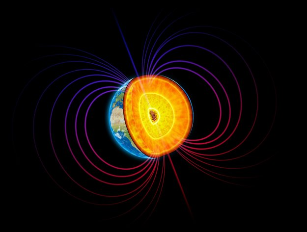 Zemské jadro a magnetické siločiary.