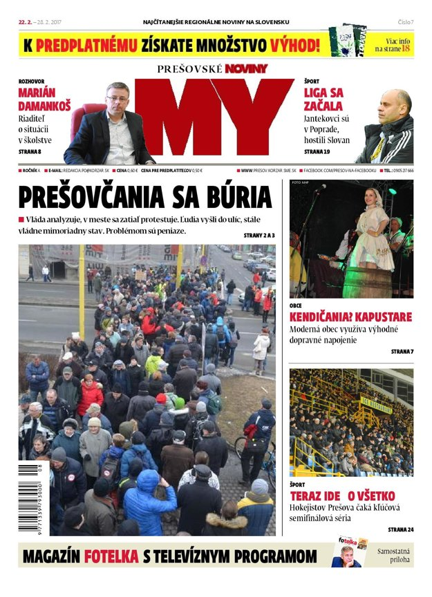 Titulná strana týždenníka MY Prešovské noviny č. 7/2017.