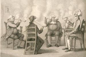 Klub fajčiarov. Ilustrácia z knihy Fredericka Williama Fairholta Tobacco, its History and Association, 1859.