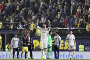 Kapitán Realu Madrid Sergio Ramos sa teší po víťazstve nad Villarrealom.