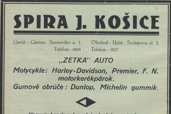 Autoservis Spira na dobovej reklame.