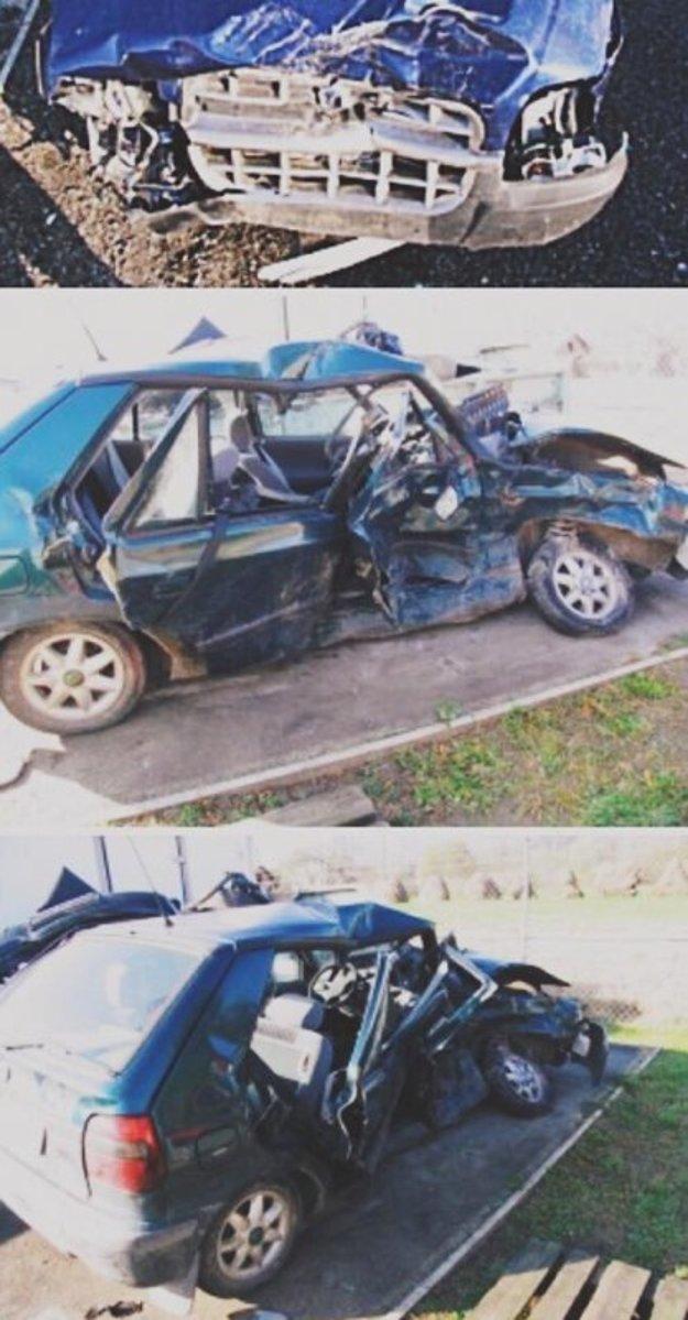 Škoda Felícia bola po nehode úplne zdemolovaná