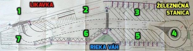 Plán autobusovej stanice vRužomberku po rekonštrukcii. 1 – vstup avýchod pre autobusy, 2 – administratívna budova sčakárňou aWC, 3 – severné kryté nástupište, 4 – kruhový objazd pre autobusy, 5 – južné kryté nástupište, 6 – plocha určená na vystupovanie cestujúcich zautobusov, 7 – parkovisko autobusov.