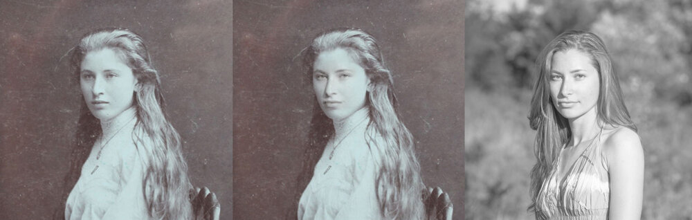 Na storočnom portréte (vľavo) v starom secesnom dome v Piešťanoch našla Natália Hrnčárová svoju tvár. Aby črty porovnala, vzala vlastný portrét (vpravo) a tvár z neho vložila do nájdenej fotografie dámy (v strede).