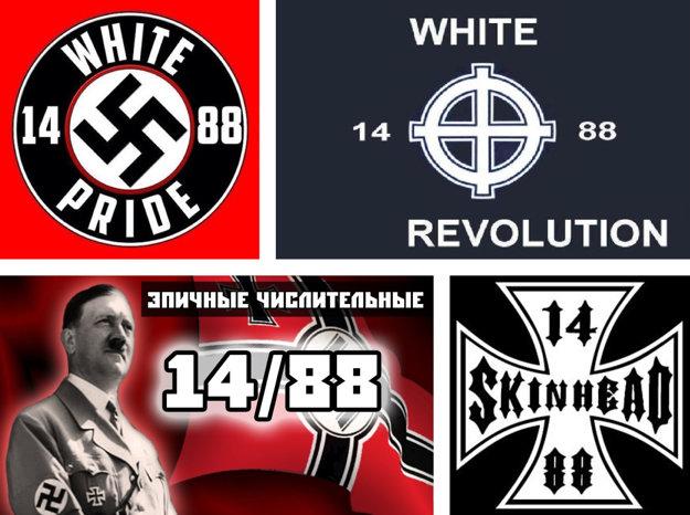 Čislovka 14/88 sa často objavuje v kombinácii s inými extrémistickými symbolmi.