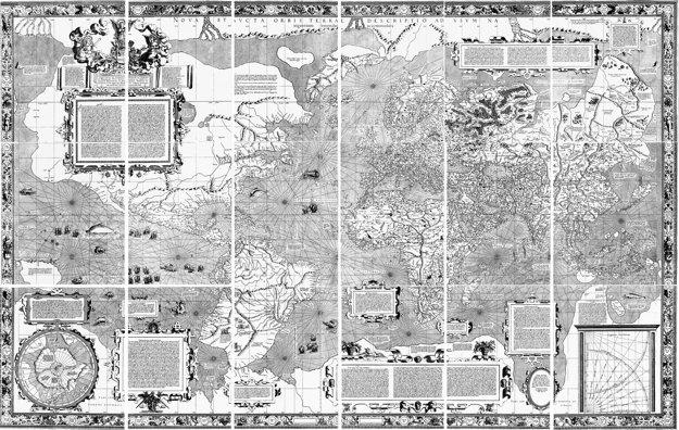 Pôvodná mapa Gerardusa Mercatora z roku 1569.